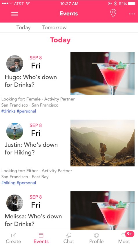 screenshot of PlusOne Social app